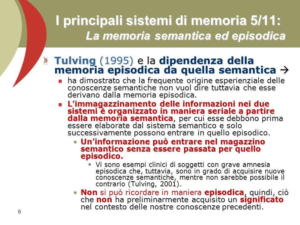 I principali sistemi di memoria 5/11: