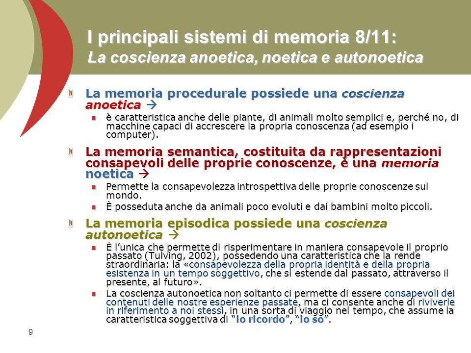 I principali sistemi di memoria 8/11: La coscienza anoetica, noetica e autonoetica