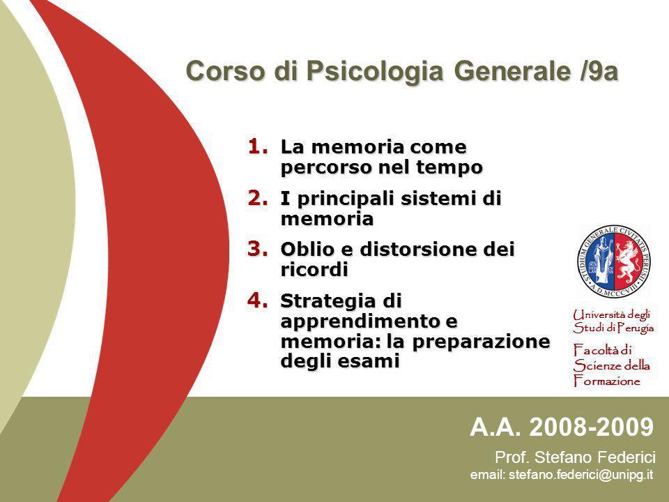 Corso di Psicologia Generale /9a