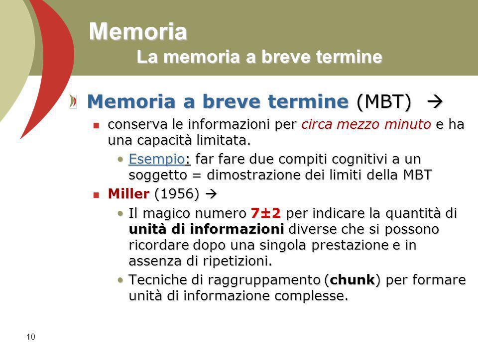 Memoria La memoria a breve termine