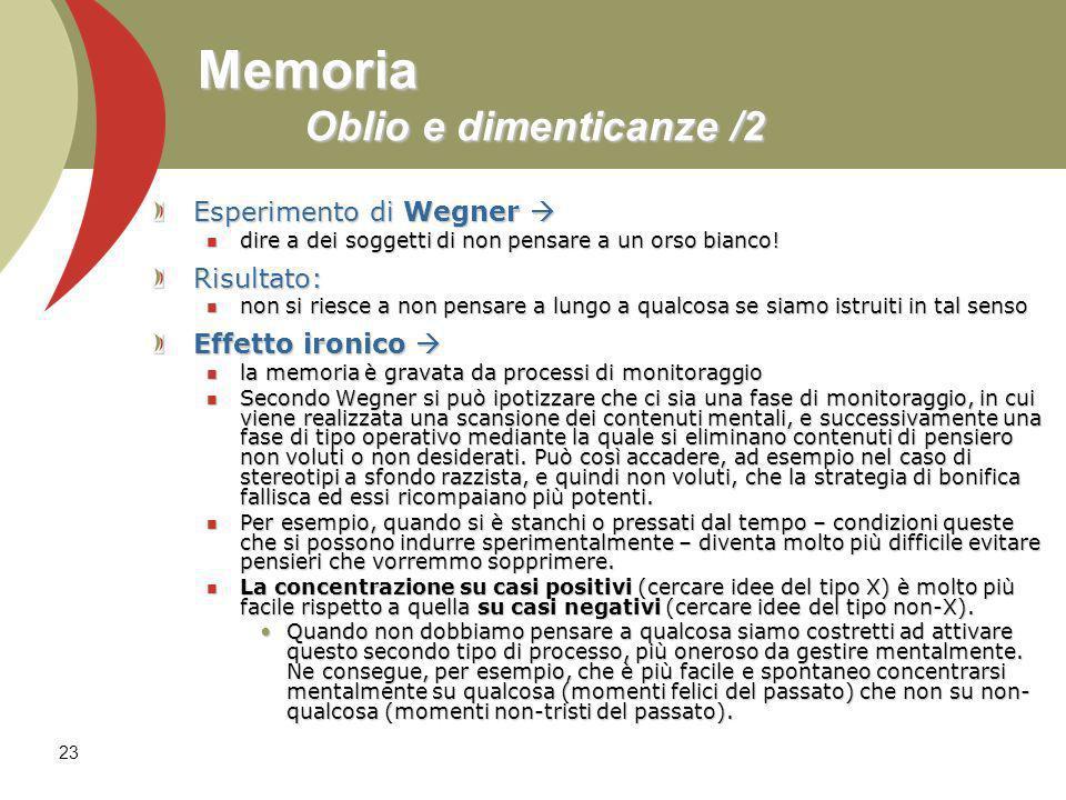 Memoria Oblio e dimenticanze /2