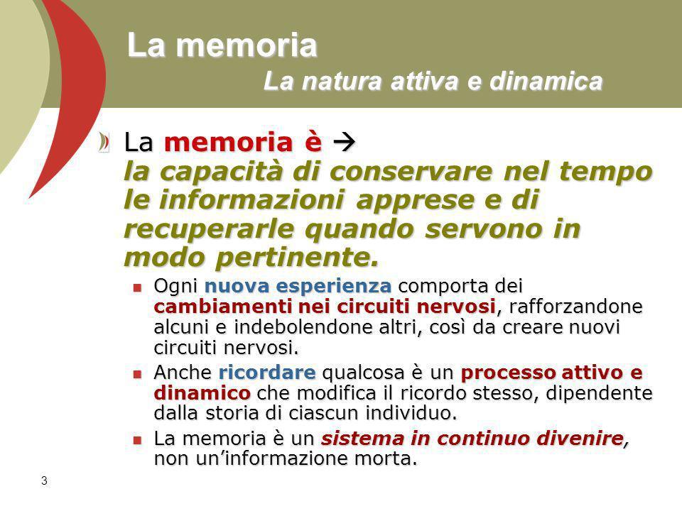 La memoria La natura attiva e dinamica