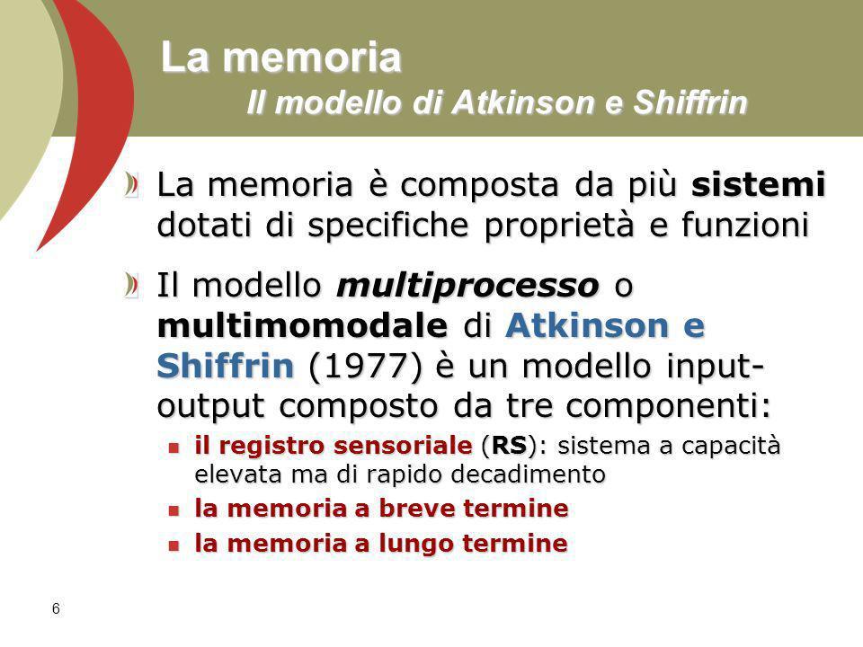 La memoria Il modello di Atkinson e Shiffrin