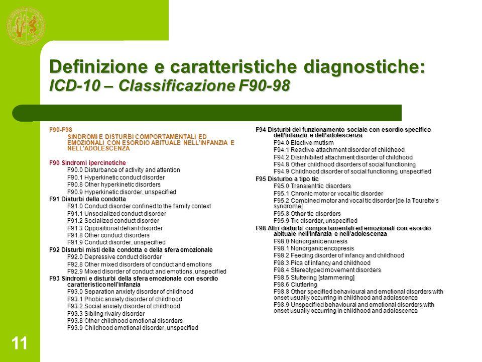Definizione e caratteristiche diagnostiche: ICD-10 – Classificazione F90-98