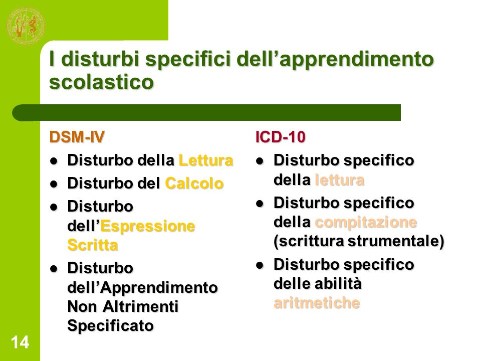 I disturbi specifici dell'apprendimento scolastico