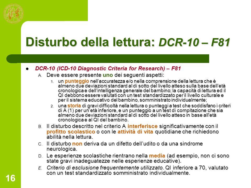 Disturbo della lettura: DCR-10 – F81