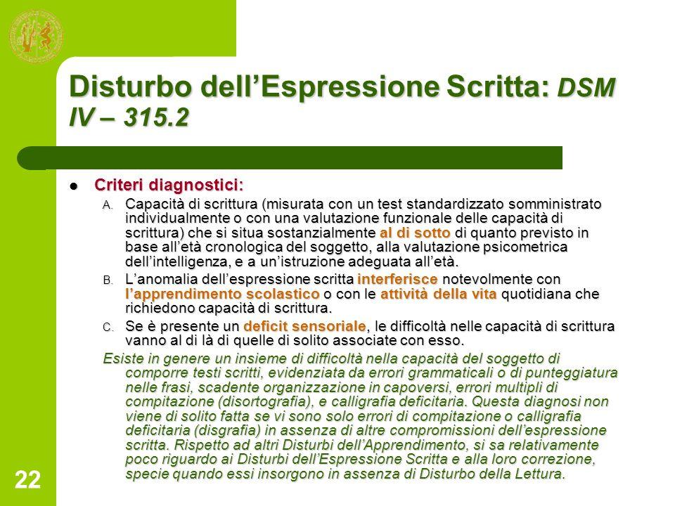Disturbo dell'Espressione Scritta: DSM IV – 315.2