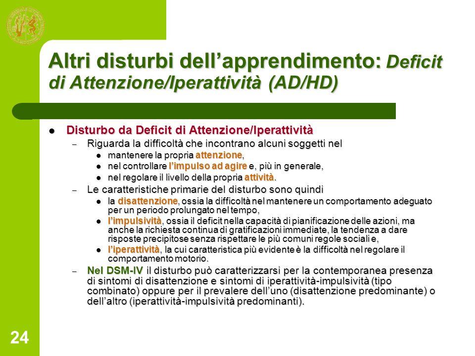 Altri disturbi dell'apprendimento: Deficit di Attenzione/Iperattività (AD/HD)