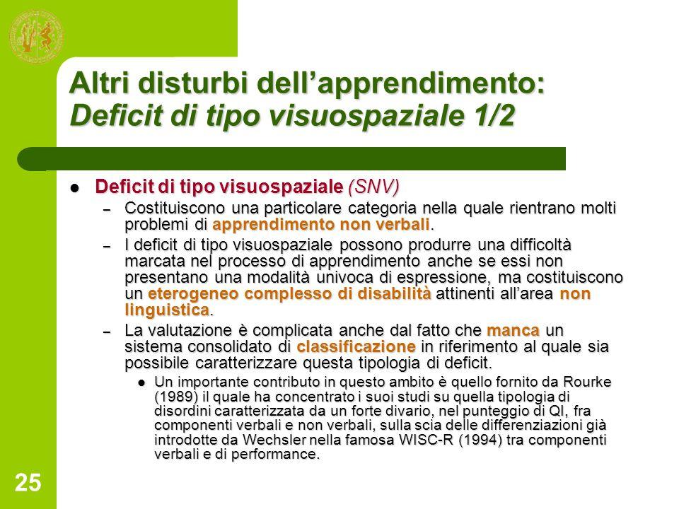 Altri disturbi dell'apprendimento: Deficit di tipo visuospaziale 1/2