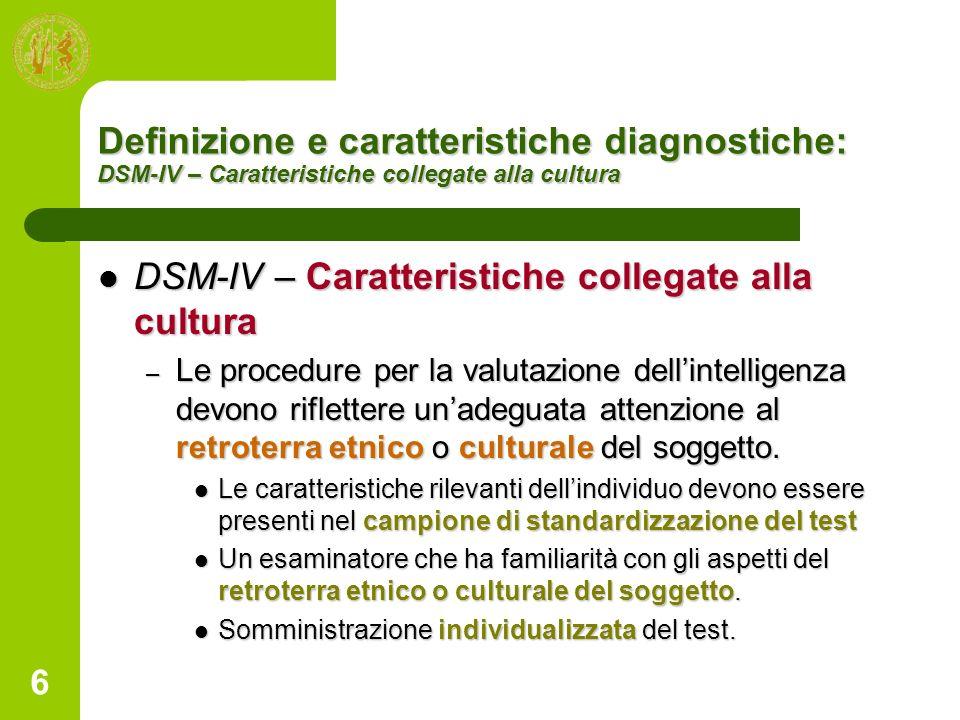 DSM-IV – Caratteristiche collegate alla cultura