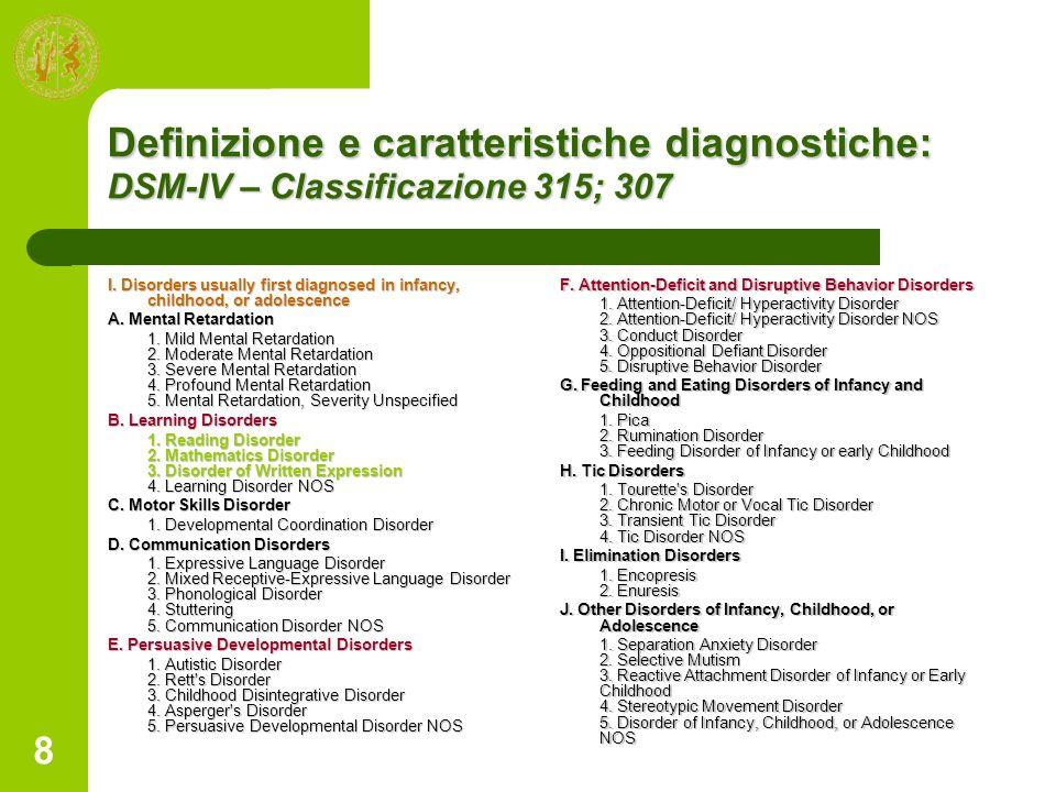 Definizione e caratteristiche diagnostiche: DSM-IV – Classificazione 315; 307
