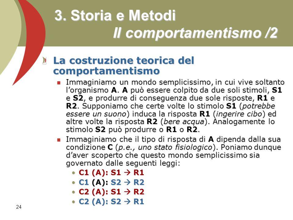 3. Storia e Metodi Il comportamentismo /2