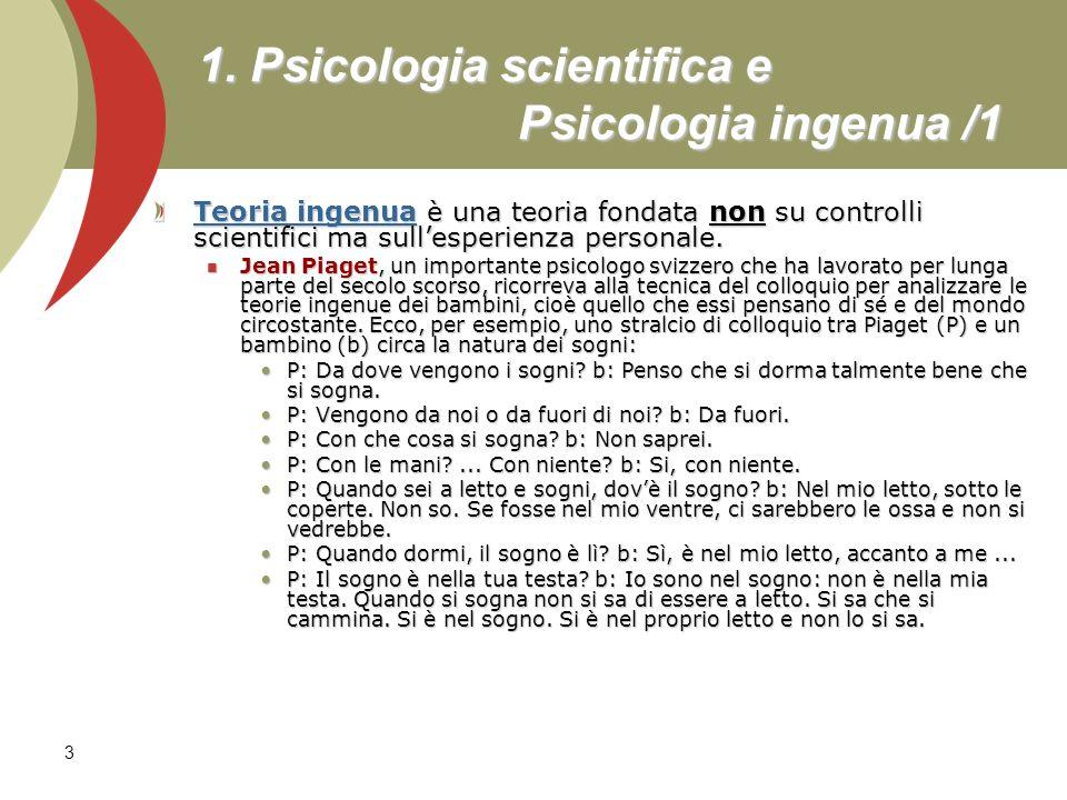 1. Psicologia scientifica e Psicologia ingenua /1