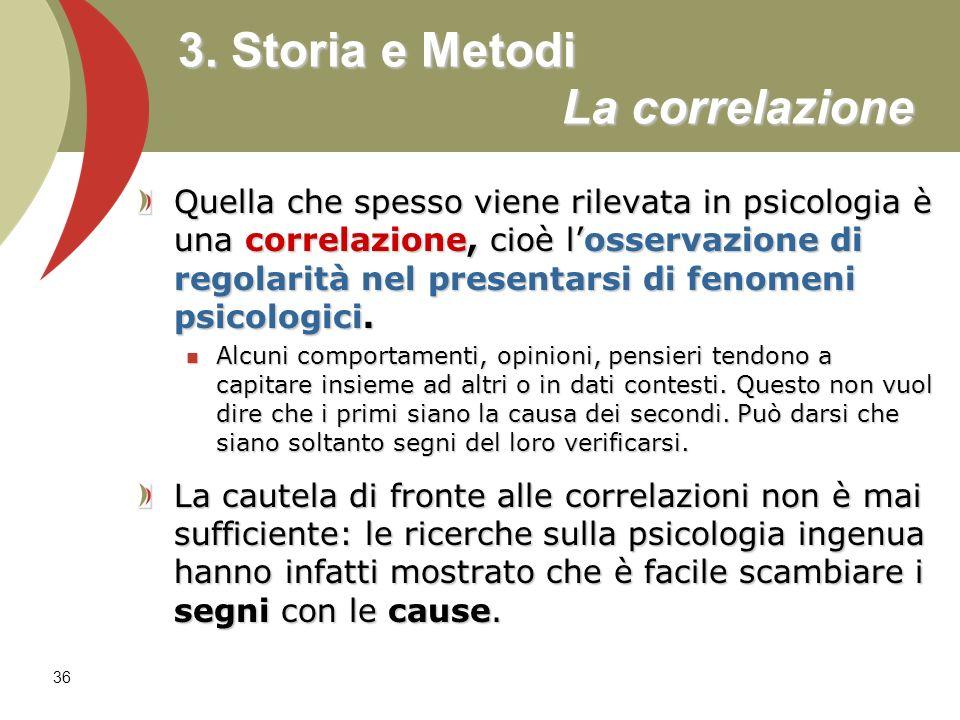 3. Storia e Metodi La correlazione