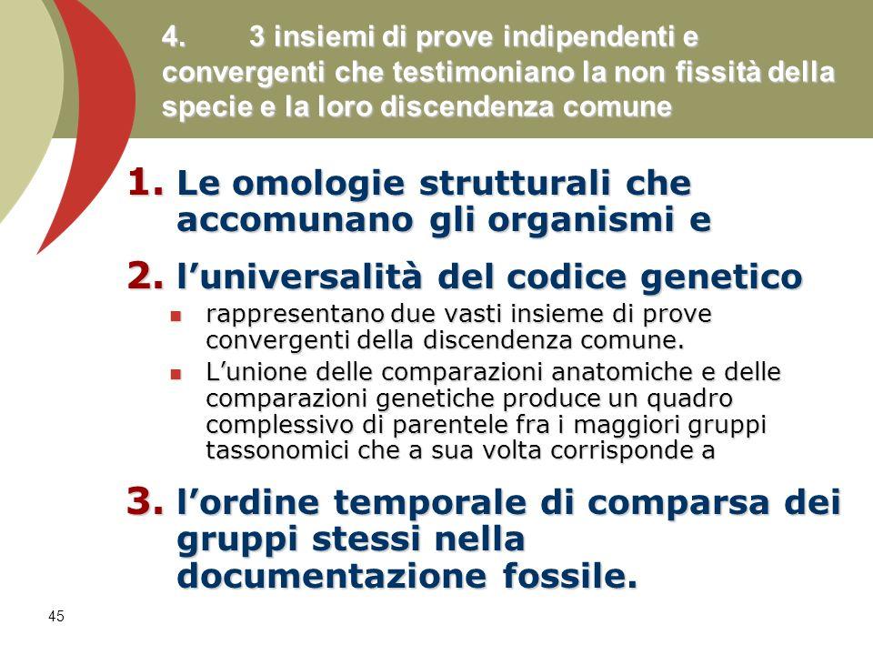 Le omologie strutturali che accomunano gli organismi e