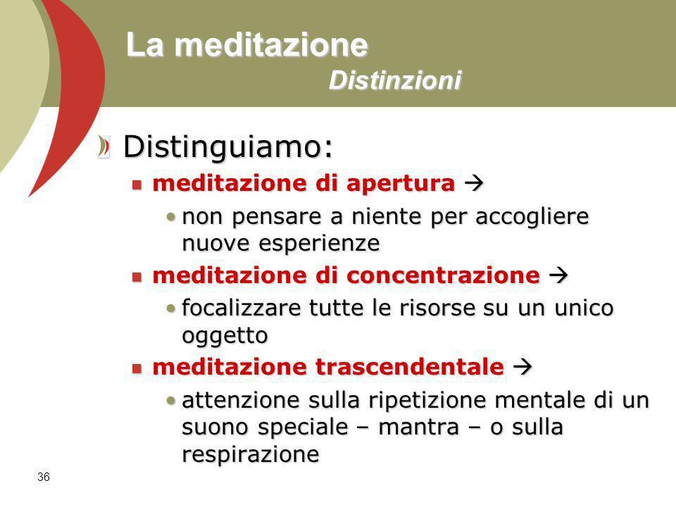 La meditazione Distinzioni