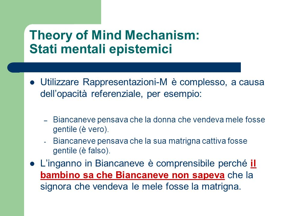 Theory of Mind Mechanism: Stati mentali epistemici