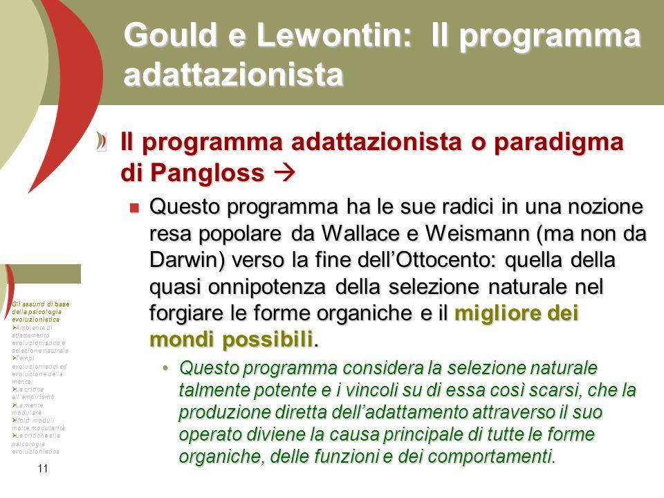 Gould e Lewontin: Il programma adattazionista