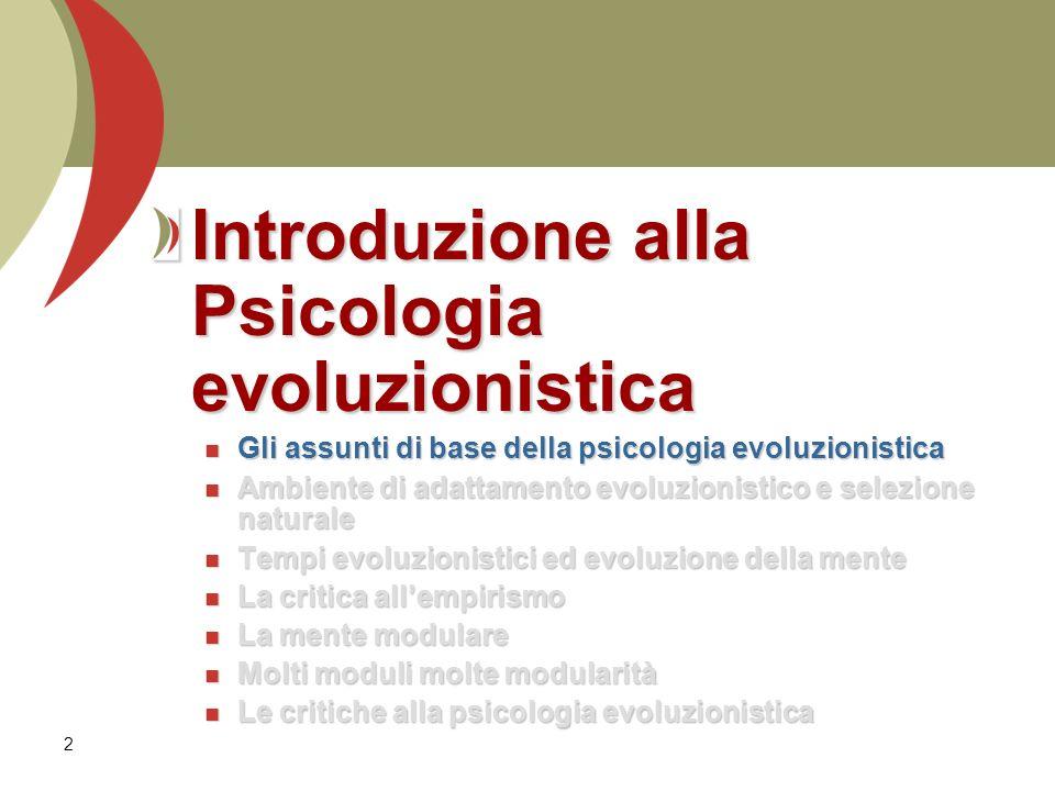 Introduzione alla Psicologia evoluzionistica