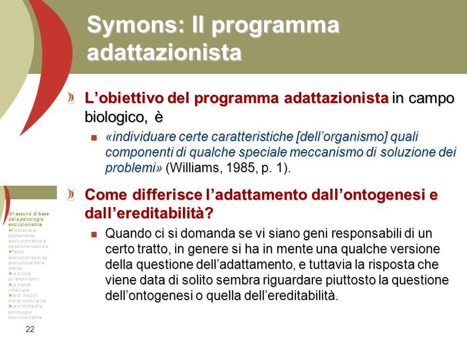 Symons: Il programma adattazionista