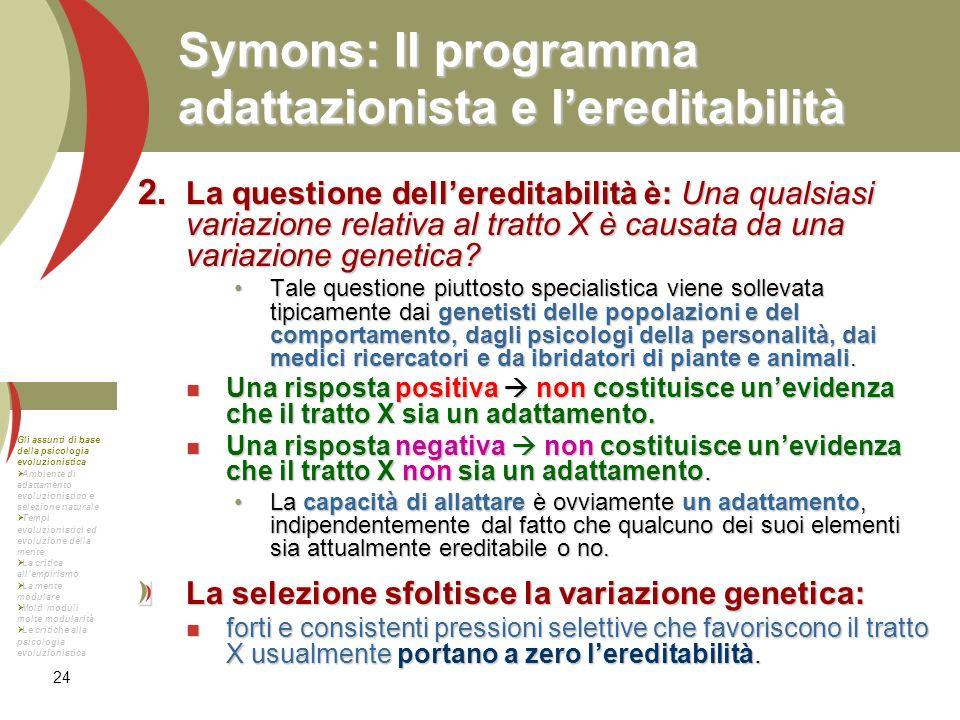Symons: Il programma adattazionista e l'ereditabilità