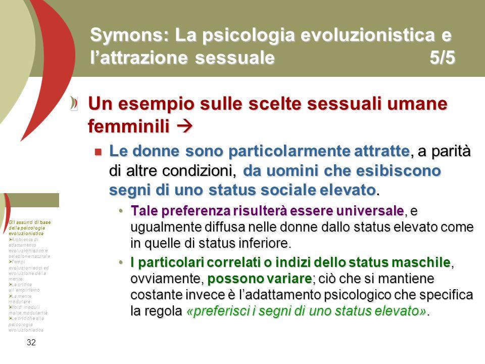 Symons: La psicologia evoluzionistica e l'attrazione sessuale 5/5