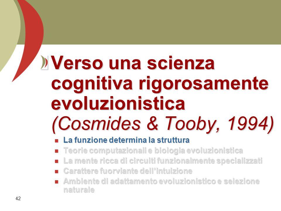 Verso una scienza cognitiva rigorosamente evoluzionistica (Cosmides & Tooby, 1994)