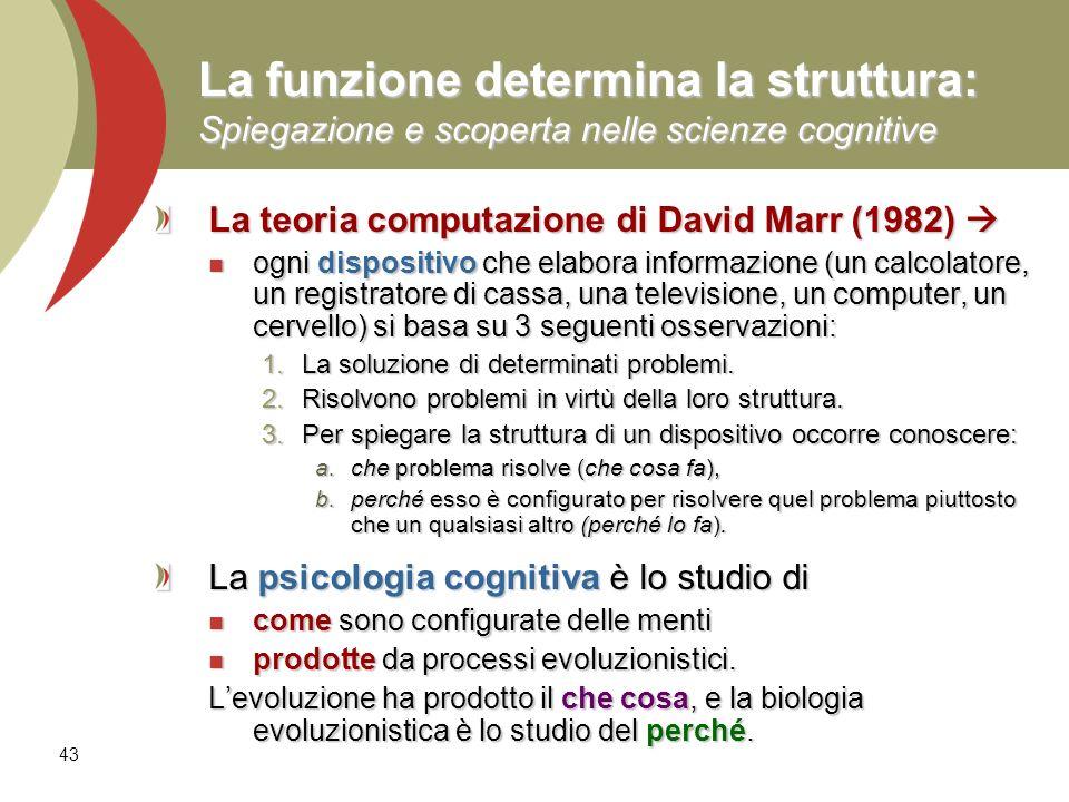 La funzione determina la struttura: Spiegazione e scoperta nelle scienze cognitive