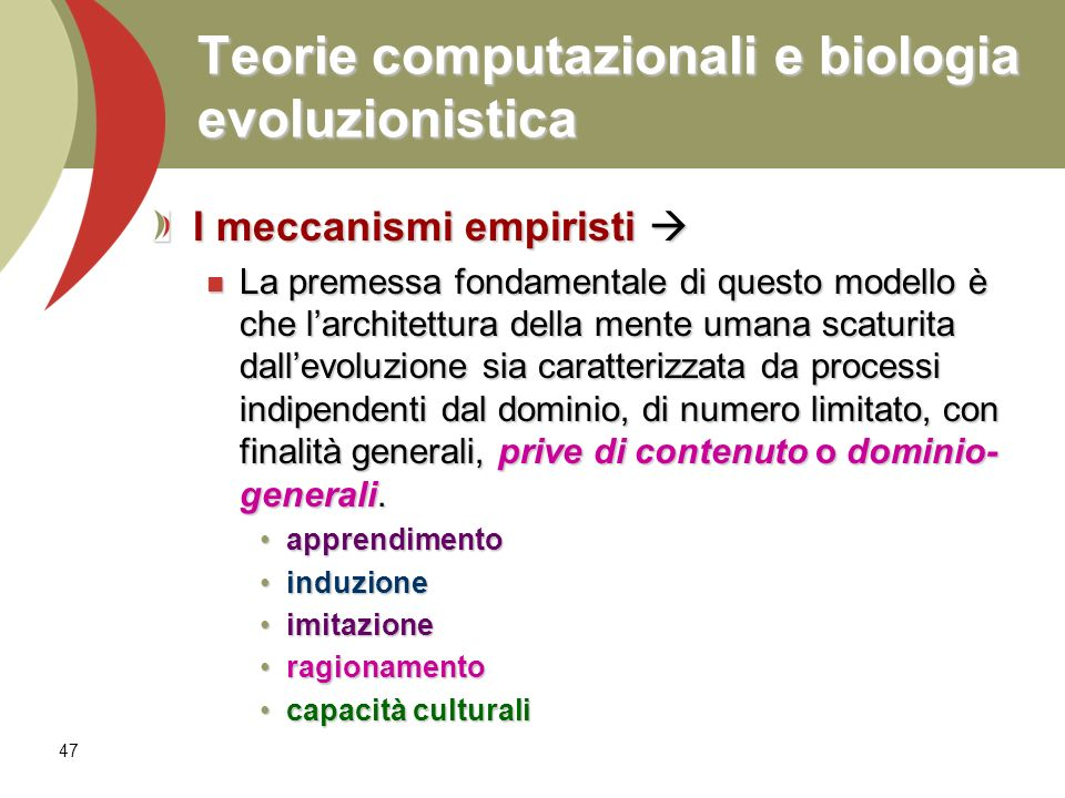 Teorie computazionali e biologia evoluzionistica