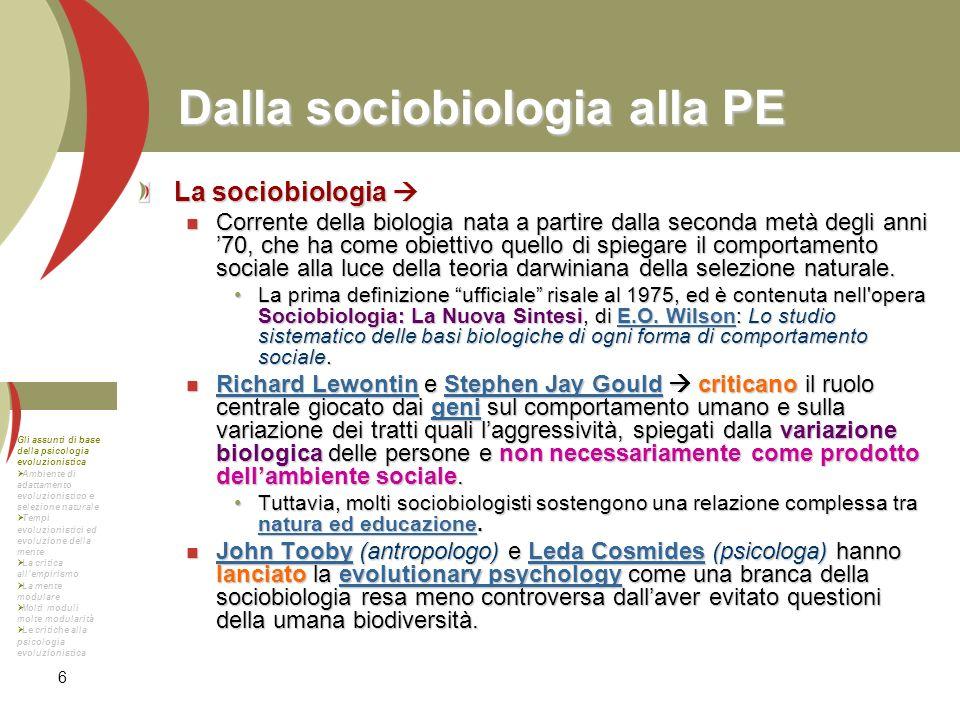 Dalla sociobiologia alla PE