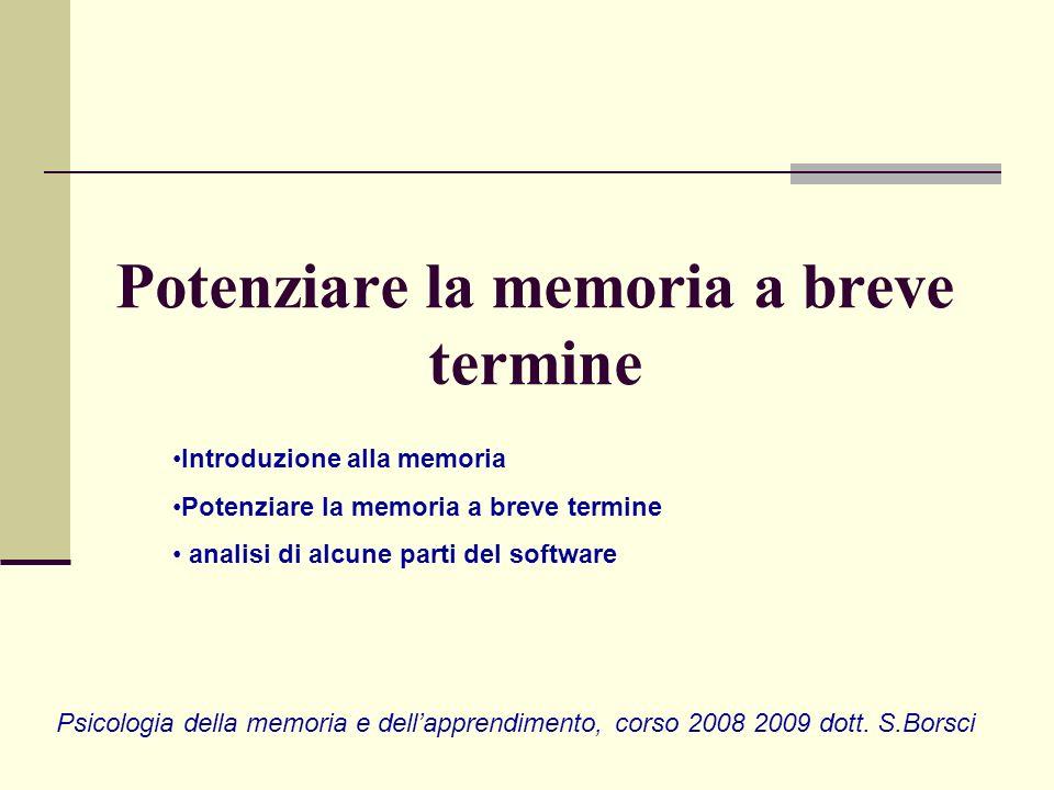 Potenziare la memoria a breve termine