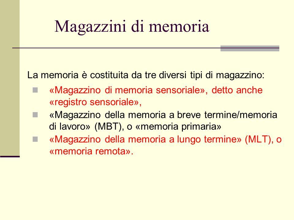 Magazzini di memoria La memoria è costituita da tre diversi tipi di magazzino: «Magazzino di memoria sensoriale», detto anche «registro sensoriale»,