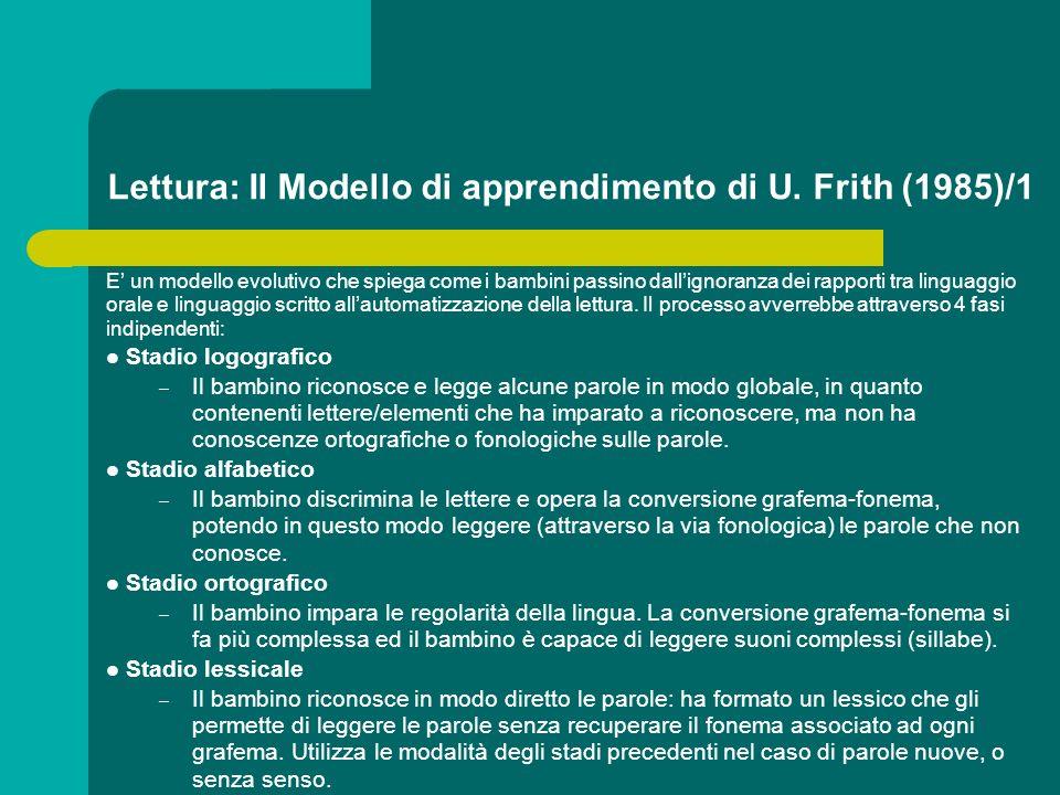 Lettura: Il Modello di apprendimento di U. Frith (1985)/1