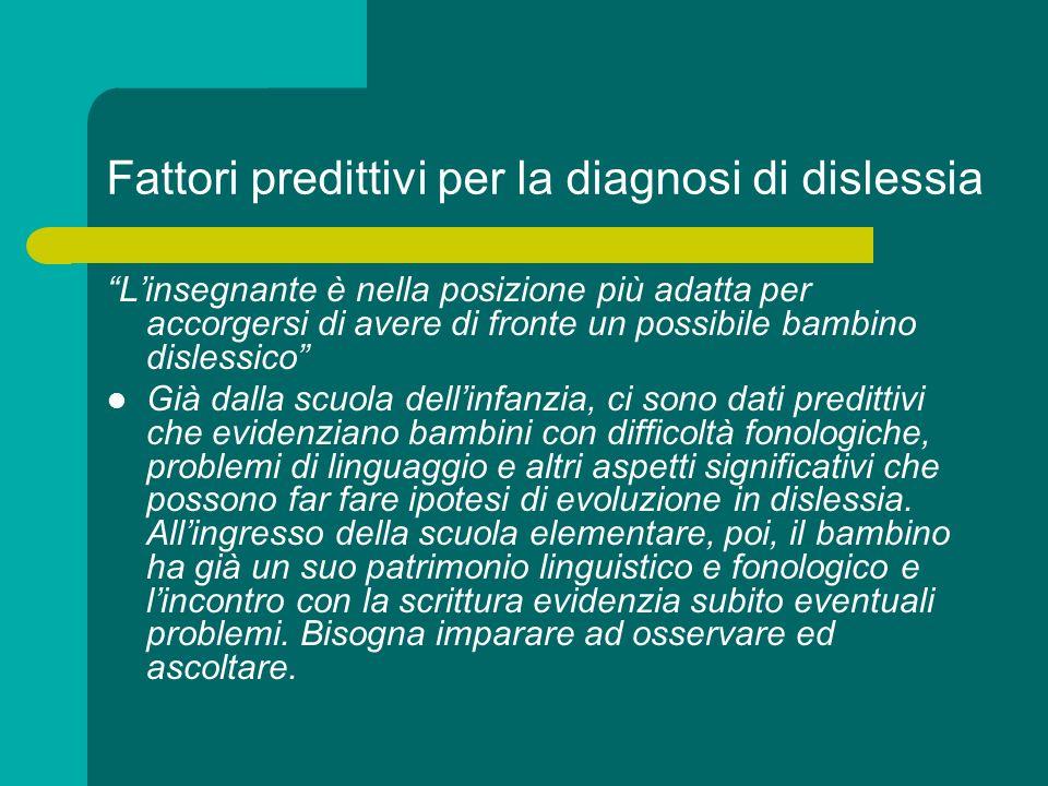 Fattori predittivi per la diagnosi di dislessia