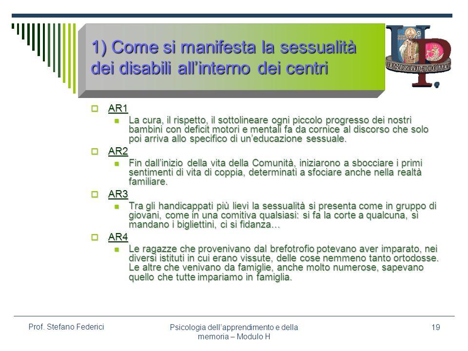 1) Come si manifesta la sessualità dei disabili all'interno dei centri