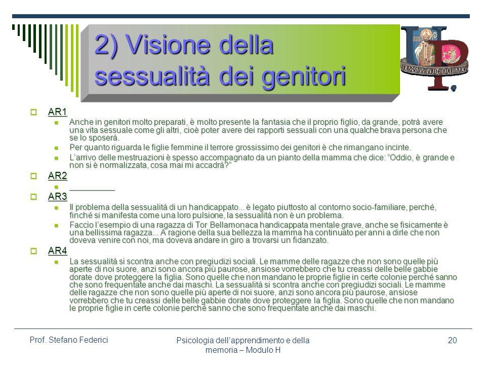 2) Visione della sessualità dei genitori
