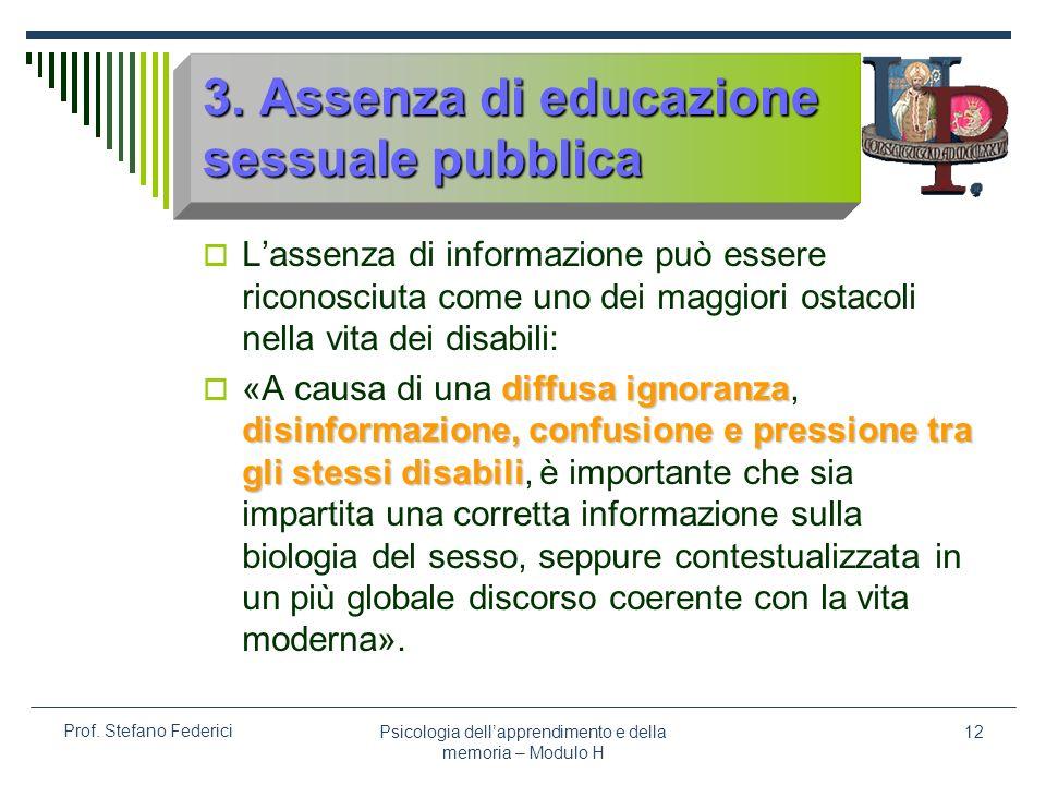 3. Assenza di educazione sessuale pubblica