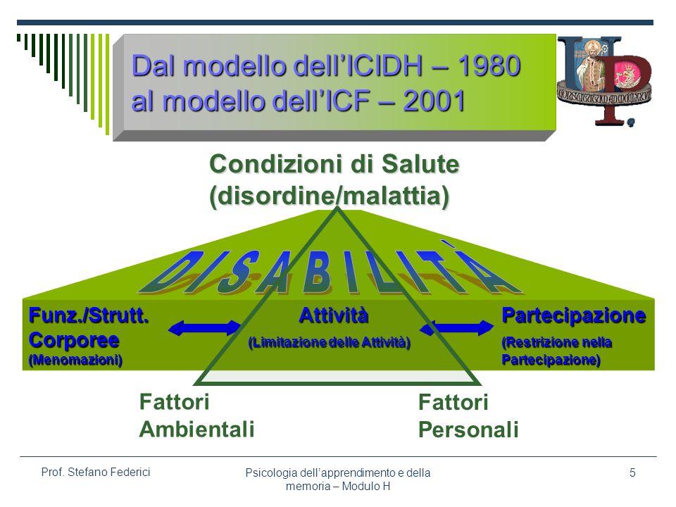 Dal modello dell'ICIDH – 1980 al modello dell'ICF – 2001