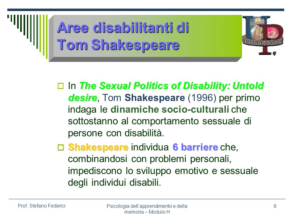 Aree disabilitanti di Tom Shakespeare