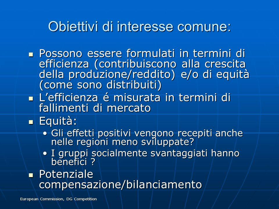 Obiettivi di interesse comune: