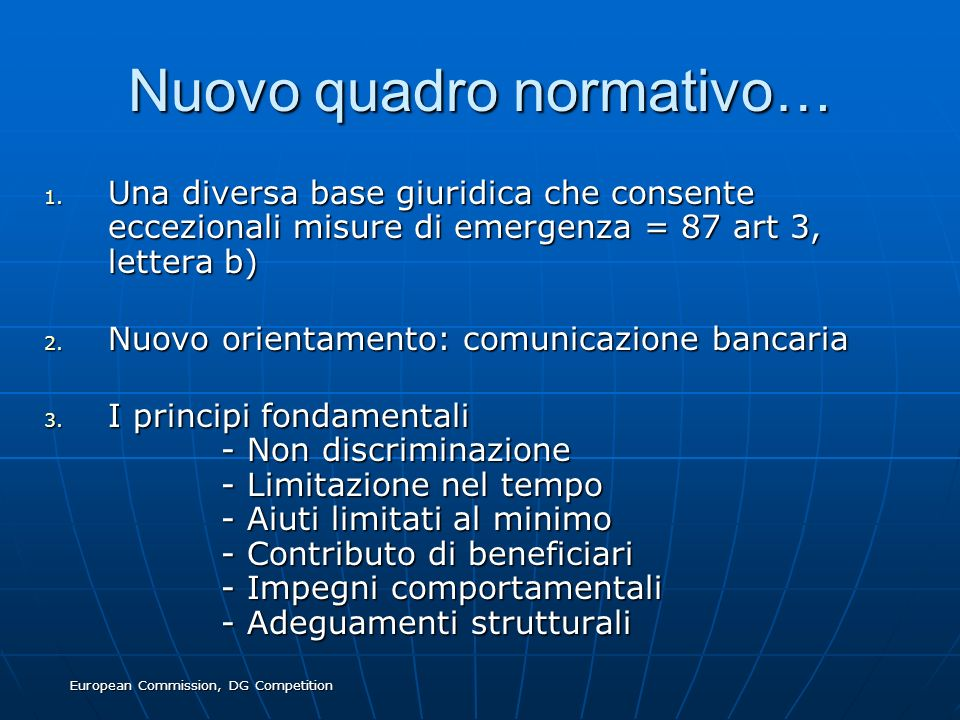 Nuovo quadro normativo…