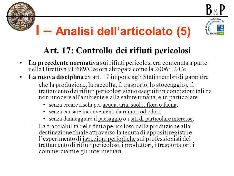 I – Analisi dell'articolato (5)