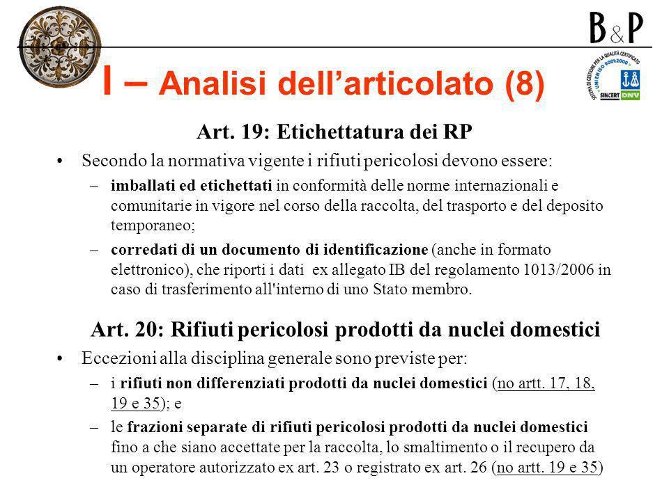 I – Analisi dell'articolato (8)