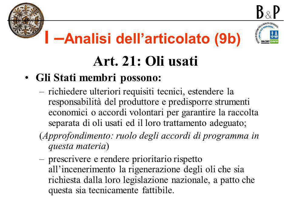 I –Analisi dell'articolato (9b)