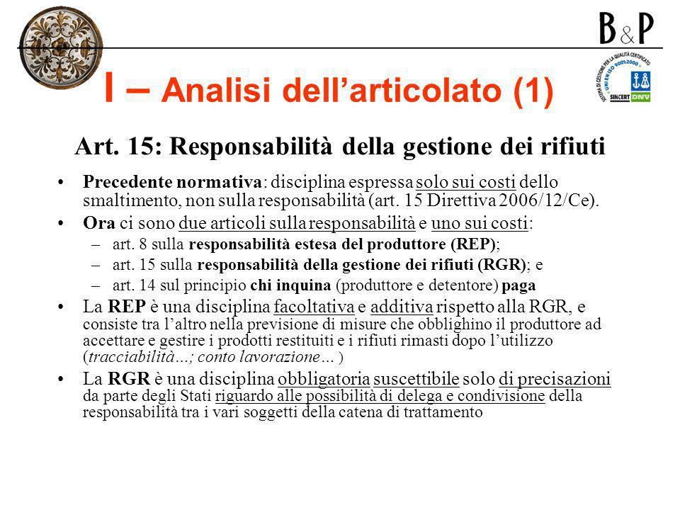 I – Analisi dell'articolato (1)