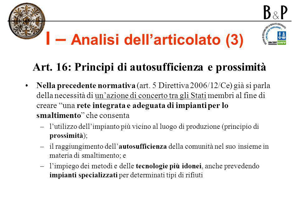 I – Analisi dell'articolato (3)