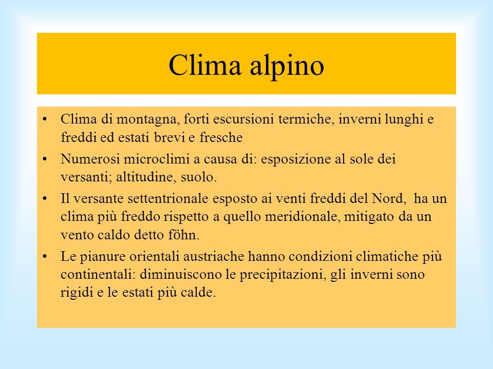 Clima alpino Clima di montagna, forti escursioni termiche, inverni lunghi e freddi ed estati brevi e fresche.