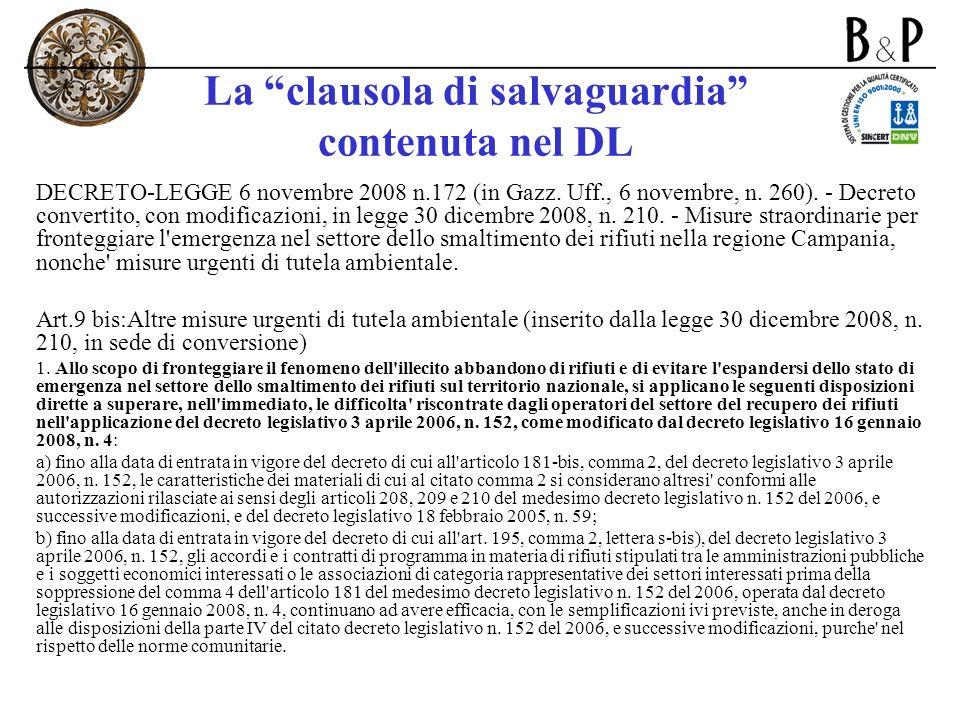 La clausola di salvaguardia contenuta nel DL