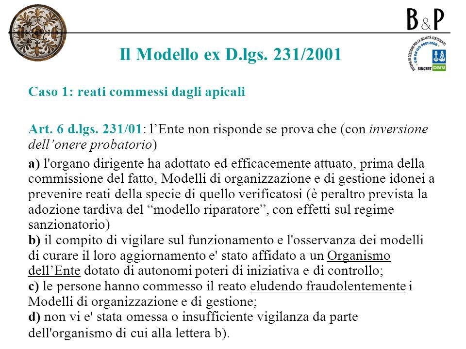 Il Modello ex D.lgs. 231/2001 Caso 1: reati commessi dagli apicali