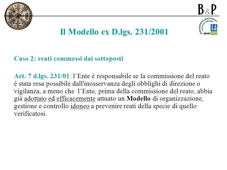 Il Modello ex D.lgs. 231/2001 Caso 2: reati commessi dai sottoposti
